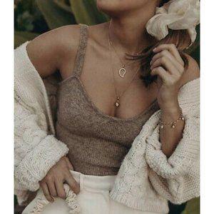 NEW Zara Wool Blend Crop Top Mink Cropped Tan Tank